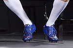 The blue boots of Tom Wood(England) at the official launch of the RBS Six Nations rugby tournament at the Hurlingham Club in London..