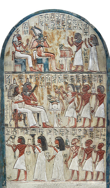 Ancient Egyptian funerary stele of painter Maya, limestone, New Kingdom, 18th Dynasty, (1336-1292 BC), Deir el-Medina,  Egyptian Museum, Turin. . Drovetti cat 1579. white background<br /> <br /> <br /> In the upper portion Maya and his wife Tamit pay homage to Osiris and Hathor, the gods of the necropolis. In the lower register is a similar scene in which his wife recieves food offerings from their many children, as was traditional at the time.