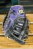 LSU Tigers first baseman Danny Zardon's glove on March 8, 2015 at Minute Maid Park in Houston, Texas. (Andrew Woolley/Four Seam Images)