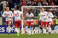Harrison, NJ - Wednesday Feb. 22, 2017: Bradley Wright-Phillips celebrates scoring during a Scotiabank CONCACAF Champions League quarterfinal match between the New York Red Bulls and the Vancouver Whitecaps FC at Red Bull Arena.