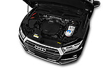 Car stock 2018 Audi Q5 Design 5 Door SUV engine high angle detail view