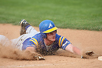 April 15,2010:  Jake Dale of the Alfred State Pioneers slides into third in a game vs. Genesee Community College (GCC) at Dwyer Stadium in Batavia, NY.  Photo Copyright Mike Janes Photography 2010