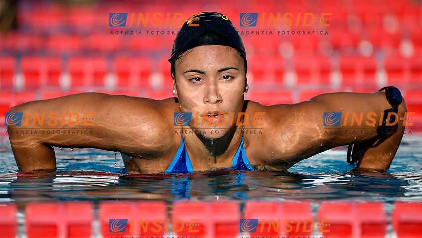 Tania Quaglieri of Italy reacts after compete in the women 100m backstroke during the 58th Sette Colli Trophy International Swimming Championships at Foro Italico in Rome, June 26th, 2021. Tania Quaglieri placed sixth in her heat.