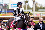 HALLANDALE BEACH, FL - MAR 17:Ivy Bell #1 trained by Todd A. Pletcher with winning jockey Javier Castellano pauses in the winner's circle at Gulfstream Park after winning the $200,000 Inside Information Stakes (G2) on March 17, 2018 in Hallandale Beach, Florida. (Photo by Bob Aaron/Eclipse Sportswire/Getty Images)