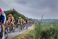 peloton riding a gravel section<br /> <br /> 17th Dwars Door Het Hageland 2021<br /> One Day Race: Aarschot – Diest 18Okm (UCI 1.Pro)<br /> Bingoal Cycling Cup 2021<br /> <br /> ©kramon