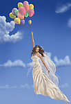 Illustrative image of bride with balloons and bird flying in sky