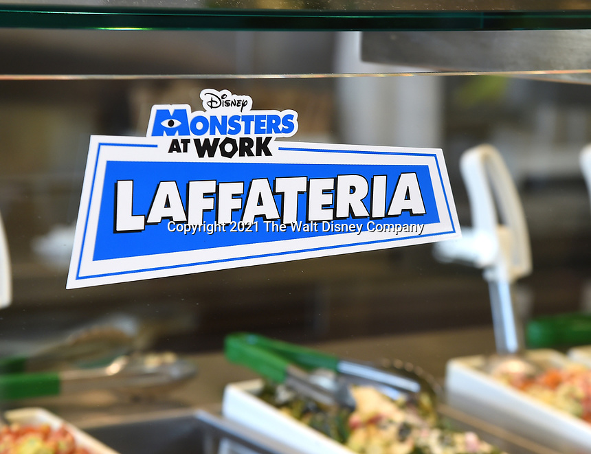 """STUDIO CITY, CA - JUNE 30: DISNEY + original series """"Monsters at Work"""" takeover of Lemonade restaurant on June 30, 2021 in Studio City, California. Monsters at Work will start streaming on Disney + on July 7 with new episodes every Wednesday. (Photo by Frank Micelotta/Disney +/PictureGroup)"""