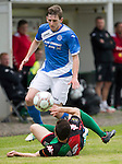 Glentoran v St Johnstone…. 09.07.16  The Oval, Belfast  Pre-Season Friendly<br />Blair Alston is tackled by a Glentoran trialist<br />Picture by Graeme Hart.<br />Copyright Perthshire Picture Agency<br />Tel: 01738 623350  Mobile: 07990 594431