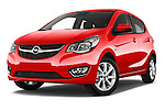 Stock pictures of low aggressive front three quarter view of 2016 Opel Karl Cosmo 5 Door Hatchback Low Aggressive