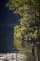 A fisherman fly fishing.