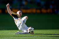 MELBOURNE, AUSTRALIA - DECEMBER 27: Jobe Wheelhouse of the Jets attempts to save the ball during the round 20 A-League match between the Melbourne Victory and the Newcastle Jets at AAMI Park on December 27, 2010 in Melbourne, Australia. (Photo by Sydney Low / Asterisk Images)
