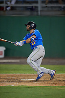 Myrtle Beach Pelicans Cam Balego (22) hits a double during a Carolina League game against the Potomac Nationals on August 14, 2019 at Northwest Federal Field at Pfitzner Stadium in Woodbridge, Virginia.  Potomac defeated Myrtle Beach 7-0.  (Mike Janes/Four Seam Images)