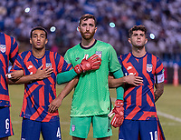 SAN PEDRO SULA, HONDURAS - SEPTEMBER 8: Tyler Adams #4, Matt Turner #1 and Christian Pulisic #10 of the United States stand for the national anthem during a game between Honduras and USMNT at Estadio Olímpico Metropolitano on September 8, 2021 in San Pedro Sula, Honduras.