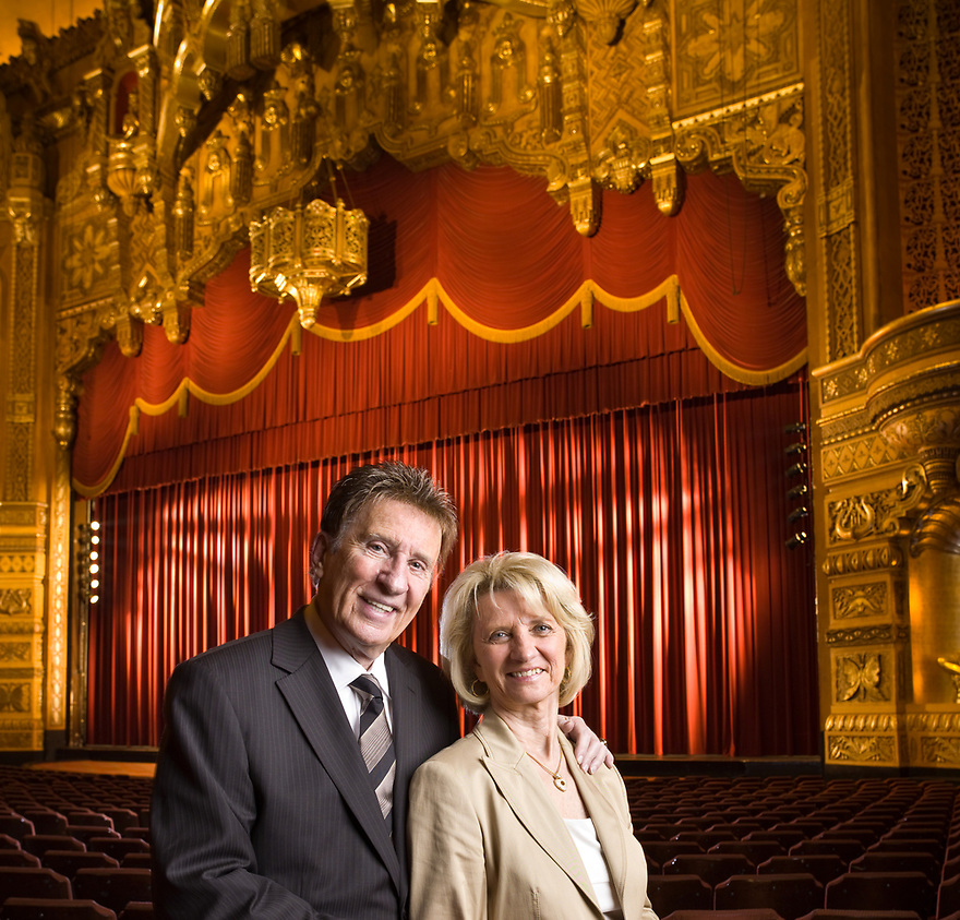 Mike Illich - Founder of Little Caesars Pizza and his wife Marian photographed at the Fox Theater in Detroit, Michigan on August 30, 2006 for Forbes Magazine