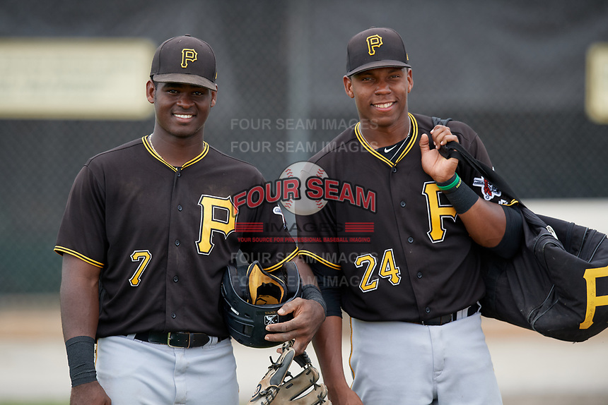 Pittsburgh Pirates Huascar Fuentes (7) and Julio de la Cruz (24) pose for a photo after a minor league Extended Spring Training intrasquad game on April 1, 2017 at Pirate City in Bradenton, Florida.  (Mike Janes/Four Seam Images)
