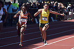 13 JUNE 2015: Jenna Prandini of Oregon crosses the finish line ahead of Morolake Akinosun of Texas to win  the Women's 100 meters during the Division I Men's and Women's Outdoor Track & Field Championship held at Hayward Field in Eugene, OR. Prandini won the event in a time of 10.96. Steve Dykes/ NCAA Photos