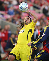 Columbus Crew Defender Gino Padula (4) in the Real Salt Lake 1-0 win over Columbus Crew in Game 1 of the Semi-Finals of the MLS Playoffs on October 31, 2009 at  Rio Tinto Stadium in Sandy, Utah
