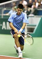 23-2-06, Netherlands, tennis, Rotterdam, ABNAMROWTT,  Novak Djokovic in action against Tim Henman