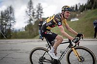 Sepp Kuss (USA/Jumbo-Visma) up the finale towards La Plagne (HC/2072m/17.1km@7.5%) <br /> <br /> 73rd Critérium du Dauphiné 2021 (2.UWT)<br /> Stage 7 from Saint-Martin-le-Vinoux to La Plagne (171km)<br /> <br /> ©kramon