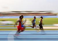 BARRANQUILLA - COLOMBIA, 29-07-2018: Aspecto de la prueba 100 Metros Planos Hombres, en el Estadio de Atletismo, como parte de los Juegos Centroamericanos y del Caribe Barranquilla 2018. / Appearance of the 100 Meters Flat Men test, at the Athletics Stadium, as a part of the Central American and Caribbean Sports Games Barranquilla 2018. Photo: VizzorImage / Cont.