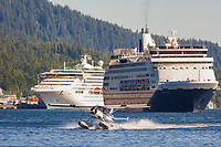 Cruise ship and float planes in the Tongass Narrows, Ketchikan, Alaska.