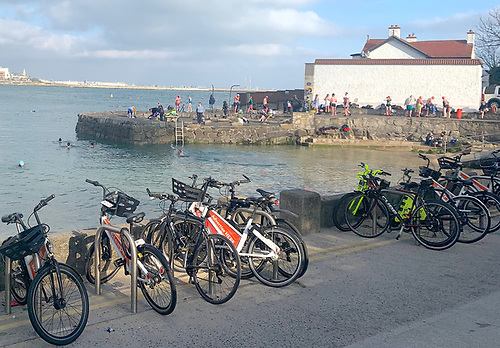 The busy sea swimming scene at Sandycove on Dublin Bay