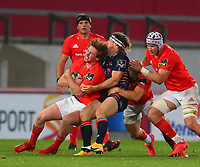 10th October 2020; Thomond Park, Limerick, Munster, Ireland; Guinness Pro 14 Rugby, Munster versus Edinburgh; Ben Healy of Munster is held up by Hamish Watson of Edinburgh in the tackle