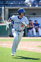 Eli White (15) of the Stockton Ports runs to first base during a game against the Rancho Cucamonga Quakes at LoanMart Field on May 28, 2017 in Rancho Cucamonga, California. Stockton defeated Rancho Cucamonga, 7-4. (Larry Goren/Four Seam Images)