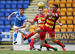 St Johnstone v Partick Thistle....17.10.15  SPFL     McDiarmid Park, Perth<br /> Graham Cummins shoots over the bar<br /> Picture by Graeme Hart.<br /> Copyright Perthshire Picture Agency<br /> Tel: 01738 623350  Mobile: 07990 594431