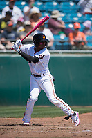 San Jose Giants second baseman Jalen Miller (2) at bat during a California League game against the Lancaster JetHawks at San Jose Municipal Stadium on May 13, 2018 in San Jose, California. San Jose defeated Lancaster 3-0. (Zachary Lucy/Four Seam Images)