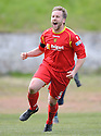 Albion Rovers  Ciaran Donnelly (5) celebrates winning the Second Division Play Offs after he scores the winning penalty ....