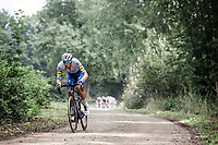 Deceuninck Quick Step rider with a escape attemp<br /> <br /> Dwars Door Het Hageland 2020<br /> One Day Race: Aarschot – Diest 180km (UCI 1.1)<br /> Bingoal Cycling Cup 2020