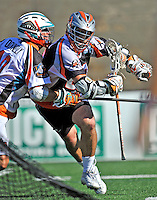 23 August 2008: Denver Outlaws' Attackman Ryan Powell in action against the Los Angeles Riptide during the Semi-Finals of the Major League Lacrosse Championship Weekend at Harvard Stadium in Boston, MA. The Outlaws edged out the Riptide 13-12, advancing to the upcoming Championship Game.. .Mandatory Photo Credit: Ed Wolfstein Photo