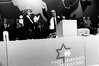 March 15, 1987  File Photo- Marion Dewar (L) and  Ed Broadbent, leader, Canada New Democratic Party (NDP) at the1987 convention  in Montreal.<br /> <br /> PHOTO :  Agence Quebec Presse