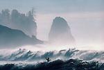 Kayak surfing, winter storm surf, La Push, Olympic National Park, Olympic Peninsula, Washington State, Pacific Northwest, USA