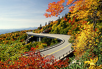 North Carolina, road, NC, Linn Cove Viaduct on the Blue Ridge Parkway in the autumn.