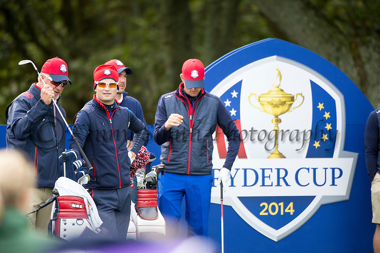 American Zach Johnson watches on from the 11th tee as his team mates tee off during a practice session at Gleneagles Golf Course, Perthshire. Photo credit should read: Kenny Smith/Press Association Images.