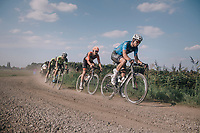 Defending Schaal Sels champion Wout Van Aert (BEL/Vérandas Willems-Crelan) leading over a gravel section, with Taco van der Hoorn (NED/Roompot-Nederlandse Loterij) in tow.<br /> <br /> 92nd Schaal Sels 2017 <br /> 1 Day Race: Merksem > Merksem (188km)