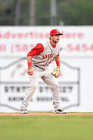 Brooklyn Cyclones second baseman Tyler Moore (15) during a game against the Batavia Muckdogs on August 11, 2014 at Dwyer Stadium in Batavia, New York.  Batavia defeated Brooklyn 4-3.  (Mike Janes/Four Seam Images)
