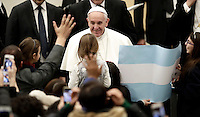 Papa Francesco saluta i fedeli al termine dell'Udienza Generale del mercoledi' in aula Paolo VI in Vaticano, 11 gennaio 2017.<br /> Pope Frances greets faithful at the end of his weekly general audience in Paul VI Hall at the Vatican on January 11, 2017.<br /> UPDATE IMAGES PRESS/Isabella Bonotto<br /> <br /> STRICTLY ONLY FOR EDITORIAL USE