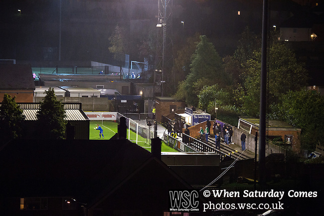 Boreham Wood 1 Northwich Victoria 2, 16/11/2015. Meadow Park, FA Cup 1st Round Replay. Northwich Victoria will be the lowest-ranked side in the FA Cup second round after a shock replay win over National League side Boreham Wood. The match was won by the away side by 2 goals to 1. Northwich were rewarded with a trip to League Two side Northampton in the second round. View of Meadow Park from high rise block of flats. Photo by Simon Gill
