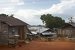 Village of Lebidoti on the Brokopondo reservoir, Suriname.  The man-made lake was hastily created by flooding a vast acreage of jungle without any prior logging and evacuation of animals and is reputed to be polluted by mercury from the mines..