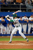 Siena Saints pinch hitter Tim Carroll (28) at bat during a game against the Florida Gators on February 16, 2018 at Alfred A. McKethan Stadium in Gainesville, Florida.  Florida defeated Siena 7-1.  (Mike Janes/Four Seam Images)
