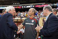 United States head coach Bob Bradley talks with US Senators Frank Lautenberg and Bob Menendez prior to the match. The men's national teams of the United States and Argentina played to a 0-0 tie during an international friendly at Giants Stadium in East Rutherford, NJ, on June 8, 2008.