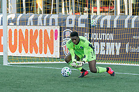 FOXBOROUGH, MA - SEPTEMBER 19: Sean Johnson #1 of New York City FC saves a shot on goal during a game between New York City FC and New England Revolution at Gillette on September 19, 2020 in Foxborough, Massachusetts.