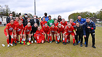 players of Woluwe celebrating their win  pictured during a female soccer game between FC Femina White Star Woluwe and SV Zulte Waregem on the fifth matchday of play off 2 in the 2020 - 2021 season of Belgian Scooore Womens Super League , Saturday 8 th of May 2021  in Woluwe , Belgium . PHOTO SPORTPIX.BE   SPP   DAVID CATRY