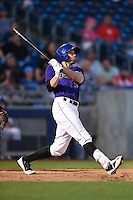 Tulsa Drillers outfielder Brian Humphries (18) at bat during the second game of a doubleheader against the Frisco Rough Riders on May 29, 2014 at ONEOK Field in Tulsa, Oklahoma.  Frisco defeated Tulsa 3-2.  (Mike Janes/Four Seam Images)