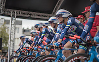 Team Wanty-Groupe Gobert on the TTT start podium<br /> <br /> 12th Eneco Tour 2016 (UCI World Tour)<br /> stage 5 (TTT) Sittard-Sittard (20.9km) / The Netherlands