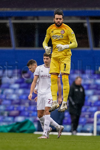 20th February 2021; St Andrews Stadium, Coventry, West Midlands, England; English Football League Championship Football, Coventry City v Brentford; David Raya of Brentford warms up as he takes his position in goal