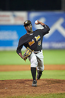 West Virginia Black Bears relief pitcher Cristian Mota (44) during a game against the Batavia Muckdogs on August 20, 2016 at Dwyer Stadium in Batavia, New York.  Batavia defeated West Virginia 7-2.  (Mike Janes/Four Seam Images)